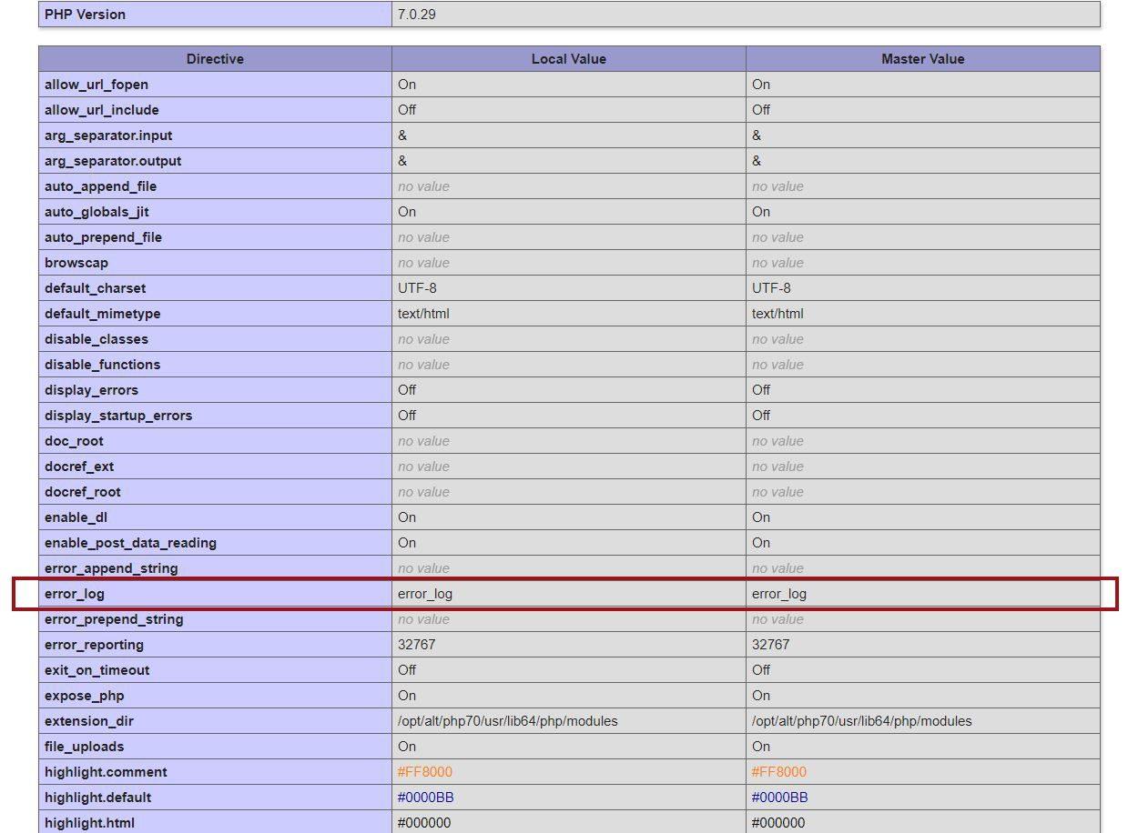 Ejemplo de archivo PHP info