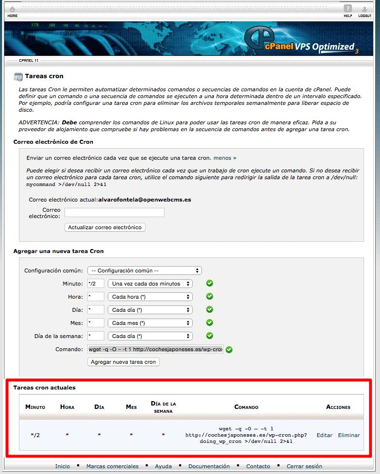 desactivar wp cron wordpress
