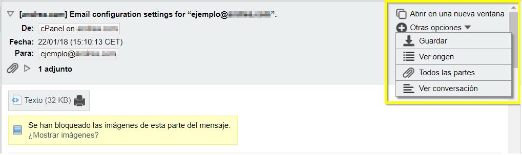 Guardar correo concreto desde el webmail