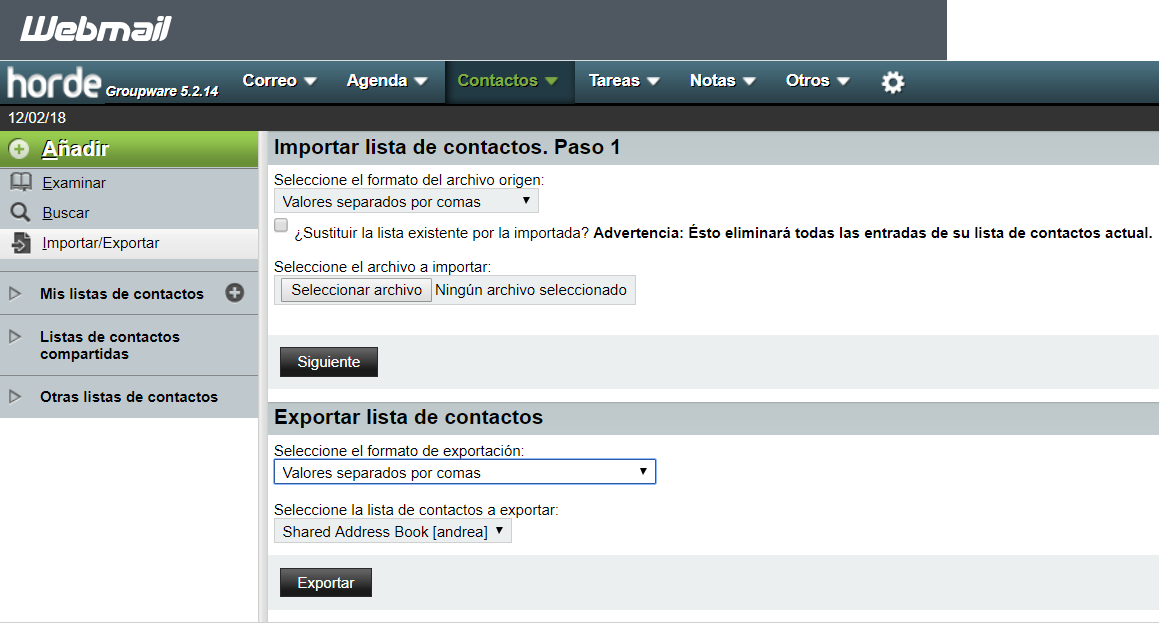 Importar y exportar contactos email