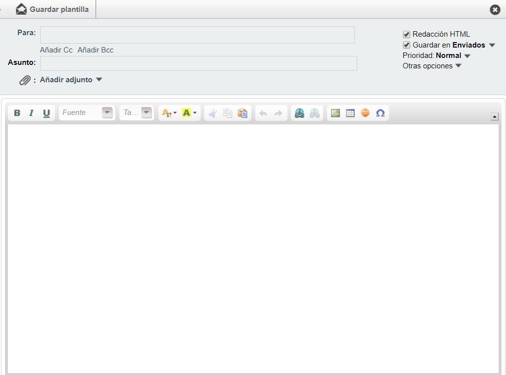 Ejemplo de plantilla nueva en el correo web Horde