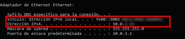 direccion IP privada windows ipv4 e ipv6