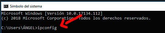 direccion IP con ipconfig puesta