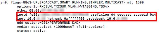 direccion ip v6 en mac